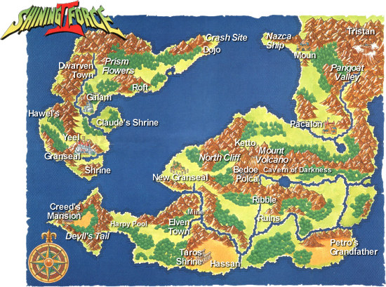 Shining Force II World Map: Grans Island and Parmecia